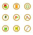 preschool icons set cartoon style vector image