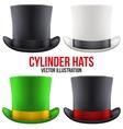 Set of gentleman hat cylinder vector image
