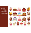 tasty cakes and cupcakes full of cream collection vector image