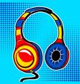 headphones comic book style vector image