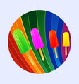 ice lollies over multicoloured curved stripes vector image vector image