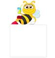 Cartoon bee holding blank sign vector image