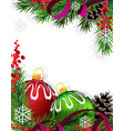 Christmas tree decorations with red ribbon vector image