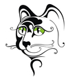 Black cat with green eyes vector image