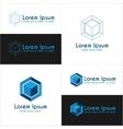 Blue cube logo templates vector image