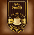 Brown background with coffee label and badge vector image