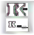 Business card design with letter K vector image
