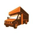 moving truck delivery van retro vector image