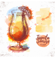 Watercolor cocktail cosmopolitan sketch vector image