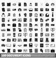 100 document icons set simple style vector image