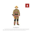 firefighter with an axe on white background vector image