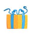 yellow gift box with blue ribbon cartoon vector image
