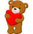 cute teddy bear holding heart vector image