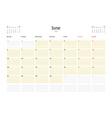 Calendar Template for June 2016 Week Starts Monday vector image