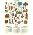 Autumn calender September October November Three vector image