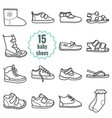 baby shoes icons setshoes for summer and winter vector image