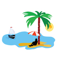 beach with palm tree and sea and summer idyll vector image