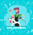 cute dog at groomer salon and set of icons vector image