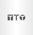 letter t black icon set element vector image
