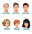 set of men and women in different hair vector image