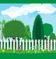 summer nature landscape with forest and fence vector image
