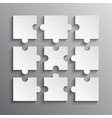 White Puzzles Piece JigSaw Object - 9 Pieces vector image
