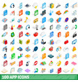 100 app icons set isometric 3d style vector image