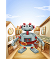 A village with a robot vector image vector image