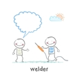 welder with welding machine with the client says vector image vector image
