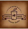 Premium coffee label over vintage background vector image