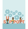 Three black men standing in the word support vector image
