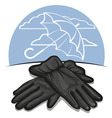 leather gloves vector image