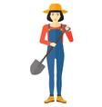 Farmer with spade vector image