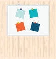 blank colorful sticky notes with pin on wood vector image