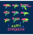 Happy Songkran Festival in Thailand water guns vector image