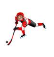 hockey cartoon boy icon vector image