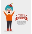poster funny clown festival funfair vector image