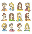 set of different colored female icons vector image