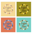 assembly flat icons bean coffee time logo vector image