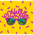 Hello summer sunglasses with tropical island vector image