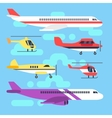 Aircraft airplane plane helicopter flat icons vector image