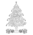 Christmas tree with gifts coloring vector image