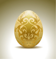 Golden egg with floral decoration vector image