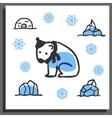 Greeting card template with cute doodle polar bear vector image