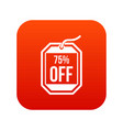 sale tag 75 percent off icon digital red vector image