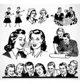 retro men and women vector image