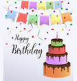 happy birthday card design with colorful big cake vector image