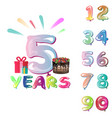 celebration background set of numbers vector image