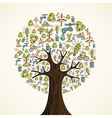 Go Green icons tree vector image