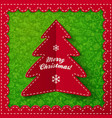 Red folded label Christmas tree vector image vector image